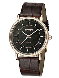 cheap -SANDA Men's Dress Watch Wrist Watch Japanese Quartz 30 m Water Resistant / Water Proof Casual Watch Cool Leather Band Analog Casual Fashion Black / Brown - Black / White Black / Silver White / Brown