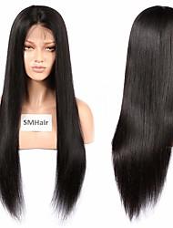 abordables -Cheveux Rémy Dentelle frontale Perruque Cheveux Brésiliens Droit soyeux Perruque Partie médiane 130% Densité des Cheveux Taille moyenne Ligne de Cheveux Naturelle Noir Femme Long Perruque Naturelle