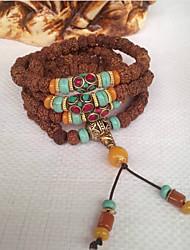 cheap -Women's Turquoise / Jade Braided / Beads Strand Bracelet / Wrap Bracelet - Buddha, Flower Shape Asian, Classic, Folk Style Bracelet Brown For Formal / Festival