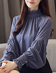 Недорогие -Жен. Блуза Воротник-стойка Однотонный