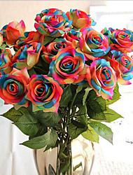baratos -Flores artificiais 1 Ramo Clássico / Solteiro (L150 cm x C200 cm) Festa / Noite / Casamento Rosas Flor de Mesa