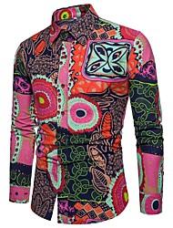 Недорогие -Муж. С принтом Рубашка Уличный стиль / Шинуазери (китайский стиль) Цветочный принт / Контрастных цветов