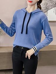 billige -Dame langærmet pullover - solid farvet hætte