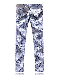 cheap -Men's Street chic Chinos Pants - Geometric Blue & White, Print