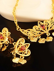 cheap -Women's Cubic Zirconia Vintage Style / Hollow Out Jewelry Set - Heart, Crown Stylish, Vintage, Sweet Include Drop Earrings / Pendant Necklace Gold For Wedding / Festival