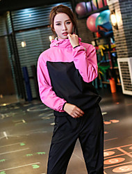 cheap -Women's Pocket 2pcs Heavy Duty Sweat Suit - Pink Sports Color Block Hoodie / Pants / Trousers Yoga, Running, Fitness Long Sleeve Activewear Windproof, Lightweight, Weight Loss Inelastic Loose