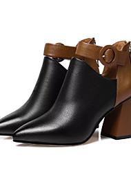Недорогие -Жен. Ботильоны Кожа / Полиуретан Осень Ботинки На толстом каблуке Заостренный носок Ботинки Черный / Контрастных цветов