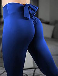 baratos -Mulheres Laço Calças de Yoga - Violeta, Cinza Claro, Vinho Esportes Côr Sólida Elastano Cintura Alta Meia-calça Dança, Corrida, Fitness Roupas Esportivas Respirável, Design Anatômico, Compressão Com