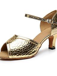 baratos -Mulheres Sapatos de Dança Latina Couro Ecológico Salto Salto Grosso Sapatos de Dança Dourado / Preto