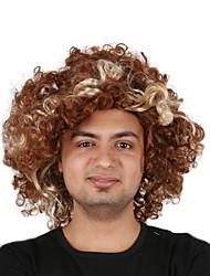 billige -Syntetiske parykker / Kostumeparykker Krøllet Bob frisure Syntetisk hår 14 inch Moderigtigt Design / Cosplay / curling Brun Paryk Herre Kort Maskinproduceret