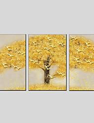 Недорогие -С картинкой Растянутый холст - Цветочные мотивы / ботанический Modern 3 панели
