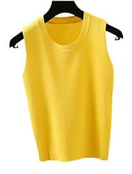 cheap -women's sleeveless slim vest - solid colored u neck