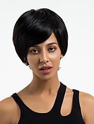 baratos -Perucas de cabelo capless do cabelo humano Cabelo Humano Liso Corte Pixie Riscas Naturais Preto Escuro Sem Touca Peruca Mulheres Diário