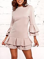 Недорогие -Жен. Классический Вспышка рукава А-силуэт Платье - Однотонный Выше колена