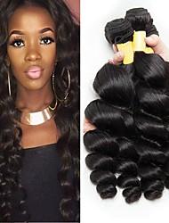 Недорогие -4 Связки Перуанские волосы Индийские волосы Свободные волны 8A Натуральные волосы Необработанные натуральные волосы Подарки Человека ткет Волосы Сувениры для чаепития 8-28 дюймовый / Черный