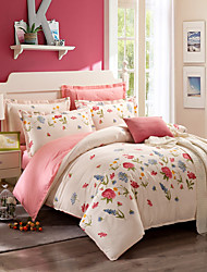 cheap -Duvet Cover Sets Floral 100% Cotton Printed 4 Piece