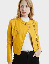 Недорогие -Жен. Кожаные куртки Армия - Однотонный