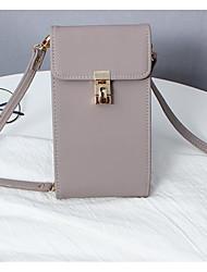 cheap -Women's Bags PU(Polyurethane) Mobile Phone Bag Buttons / Solid Geometric Almond / Brown / Khaki