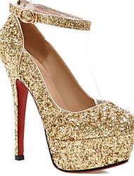 baratos -Sapatos femininos sintéticos primavera&  conforto outono / salto básico da bomba stiletto heel gold / black / silver