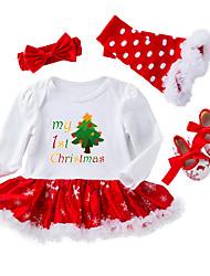 baratos -bebê Para Meninas Activo / Básico Natal / Festa / Feriado Estampado Pontos Polka / Tule Manga Longa Algodão Peça Única Branco 59