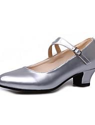 baratos -Mulheres Sapatos de Dança Moderna Couro Sintético Salto Salto Grosso Personalizável Sapatos de Dança Preto / Prateado / Vermelho