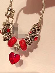 cheap -Women's Crystal / Cubic Zirconia Stylish / Beads Strand Bracelet / Link Bracelet / Pendant Bracelet - Flower, Butterfly Stylish, Dangling Style, Sweet Bracelet Red / Blue / Pink For Going out