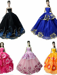 Недорогие -Платья / Прицесса Платье 5 pcs Для Кукла Барби Черные тона Тюль / Кружево / Шелково-шерстяная ткань Платье Для Девичий игрушки куклы