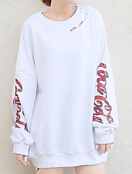 billige -Dame langærmet sweatshirt - brev / solid farvet rund hals