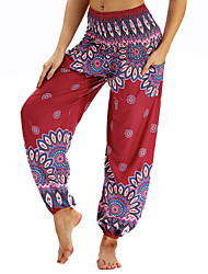 cheap -Women's Pocket / Harem / Smocked Waist Yoga Pants - Claret-red, Ink Blue, Royal Blue Sports Floral Print, Bohemian, Hippie Bloomers / Bottoms Belly Dance, Fitness Activewear Lightweight, Moisture
