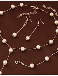 cheap -Women's Stylish / Cuban Link Jewelry Set - Imitation Pearl Creative Stylish, Sweet, Elegant Include Drop Earrings / Pearl Necklace Gold For Ceremony / Work