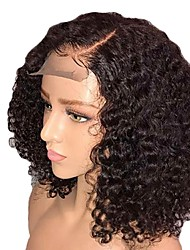 cheap -Synthetic Wig / Synthetic Lace Front Wig Curly Layered Haircut / Side Part Synthetic Hair 14 inch With Baby Hair / Adjustable / Natural Hairline Black Wig Women's Short Lace Front Natural Black / Yes
