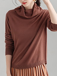 Недорогие -Жен. Шерсть Длинный рукав Пуловер - Однотонный Хомут