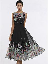 Недорогие -Жен. Элегантный стиль С летящей юбкой Платье С принтом Средней длины Бабочка