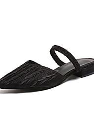 baratos -Mulheres Sapatos Tricô Verão Conforto Tamancos e Mules Salto Baixo Preto / Prata / Castanho Claro