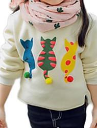 Недорогие -Дети Девочки Классический Повседневные Кот Однотонный С принтом Длинный рукав Обычный Свитер / кардиган Белый