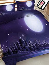 Недорогие -Хэллоуин одеяло покрытие устанавливает геометрический полиэстер реактивной печати 4 шт.