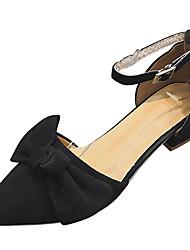 お買い得  -女性用 靴 PUレザー 夏 ベーシックサンダル ヒール チャンキーヒール ポインテッドトゥ リボン ブラック / Brown