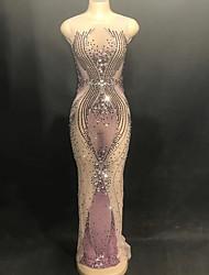 baratos -Trajes de dança Roupas de Dança Exótica / Bodysuit de strass Mulheres Espetáculo Tule Franzido / Cristal / Strass Sem Manga Vestido
