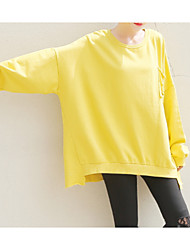 cheap -women's long sleeve long sweatshirt - solid colored round neck