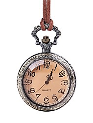 baratos -Mulheres senhoras Relógio de Bolso Quartzo Adorável Couro Banda Analógico Vintage Marrom - Marron
