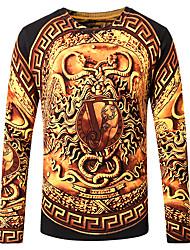 Недорогие -Муж. Большие размеры Длинный рукав Тонкие Пуловер - Абстракция Круглый вырез