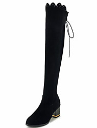 cheap -Women's Shoes Suede Fall & Winter Fashion Boots Boots Chunky Heel Round Toe Over The Knee Boots Black / Party & Evening