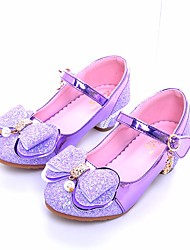 cheap -Girls' Shoes PU(Polyurethane) Spring &  Fall Flower Girl Shoes / Tiny Heels for Teens Heels for Silver / Purple / Pink