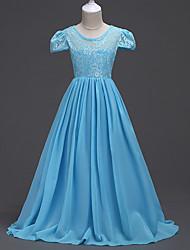 cheap -Kids Girls' Lace Fashion / Vintage Short Sleeve Satin Dress / Cotton