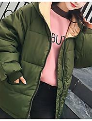 baratos -Mulheres Diário / Para Noite Sólido Curto Acolchoado, Poliéster Manga Longa Com Capuz Rosa / Verde Tropa / Cinza Claro S / M / L