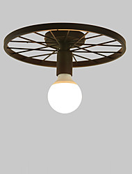 cheap -Vintage Black Metal Wheel Semi Flush Mount Ceiling Light Living Room Dining Room Lighting Painted Finish