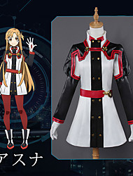 cheap -Inspired by Sword Art Online Asuna Yuuki Anime Cosplay Costumes Cosplay Suits Anime Long Sleeve Top / Pants / Gloves For Women's Halloween Costumes