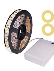Недорогие -zdm 100cm / 3.28ft водонепроницаемый 5050 smd привело теплый белый / холодный белый / красный / синий / зеленый лента свет aa батарея питания светодиодные полосы огни dc4.5v