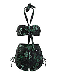 cheap -Women's Bikini - Floral / Geometric Lace up Cheeky