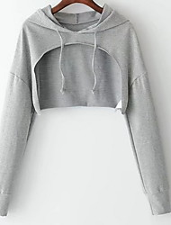 cheap -Women's Basic Hoodie - Solid Colored, Cut Out